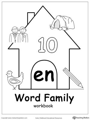 EN Word Family Workbook for Kindergarten: Our EN Word Family Workbook includes a variety of printable worksheets to help your child boost their reading and writing skills. The workbook includes printable worksheets and flashcards of common words ending with EN.
