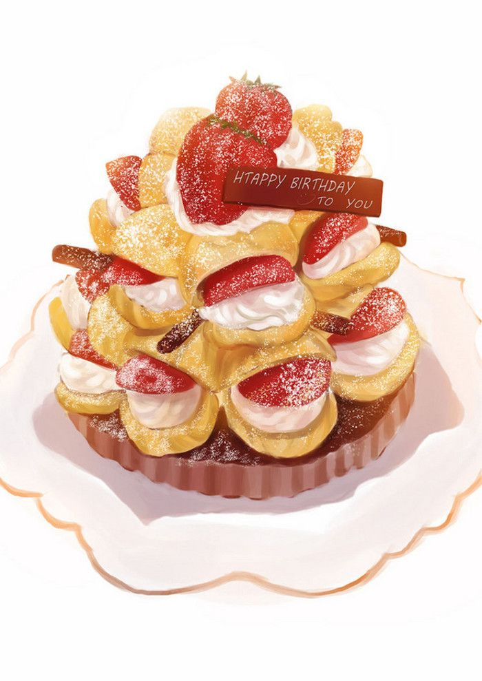 Hand-painted watercolor gourmet food birthday cake dessert afternoon tea strawberry cream puffs