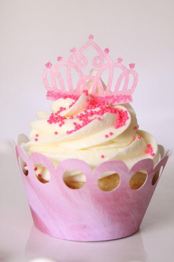 13 Pink Edible Tiara Crown Princess Cupcake Cake Cookie
