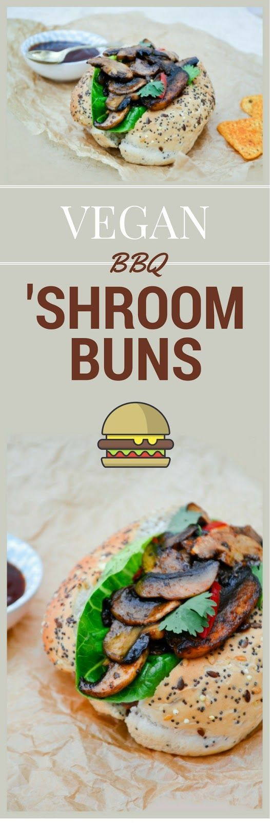 Vegan BBQ 'Shroom Buns - Smoky BBQ mushrooms in deli buns with lettuce leaves, red onion and chilli. A great vegan lunch or team them with sweet potato fries and a dressed green salad for dinner. Dairy-free and vegan