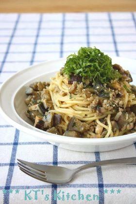 茄子とシソ肉味噌のスパゲティ