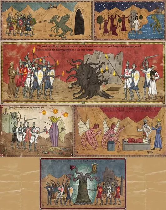 Los monstruos de #Lovecraft invaden la Edad Media en estas fantásticas pinturas del artista Robert Altbauer. http://horrorfanatico.blogspot.com.es/2015/11/lovecraft-medieval.html?m=1 #Cthulhu