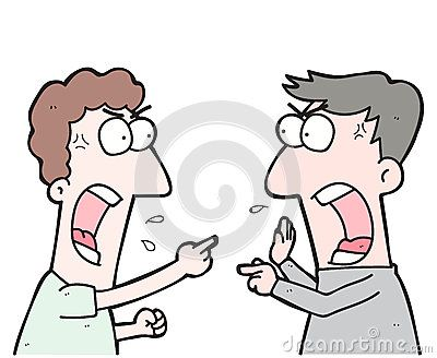 Illustration cartoon two people arguing