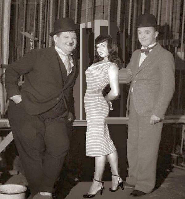 Laurel and Hardy and Bettie Page.