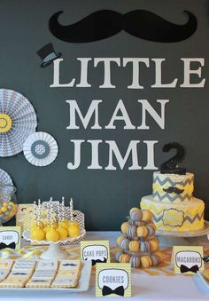 Fantastic yellow and gray mustache birthday party! See more party ideas at CatchMyParty.com!