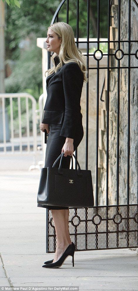 What Ivanka Trump Is Wearing Today July 11 2018 Black Suit Chanel Bag Heels Profile Side View