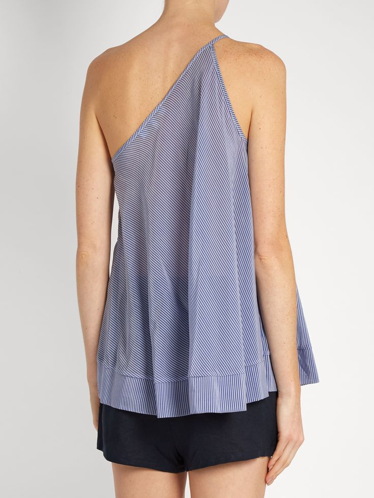Click here to buy Lila Eugenie 17262 Jesi pinstriped one-shoulder top at MATCHESFASHION.COM