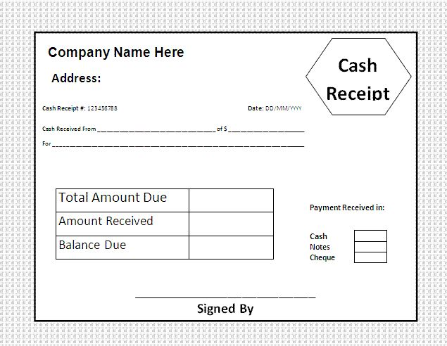 House Rental Invoice Template In Excel Format House Rental   Cash Receipt  Template Free  Cash Receipt Forms