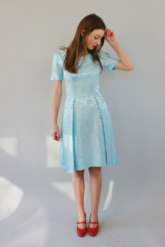 Vintage 1960s Baby Blue Brocade Party Dress / XS/S