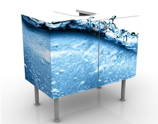 Nice  Waschbeckenunterschrank Beautiful Wave Badschrank Blau Fliesenbild Traumurlaub Bad