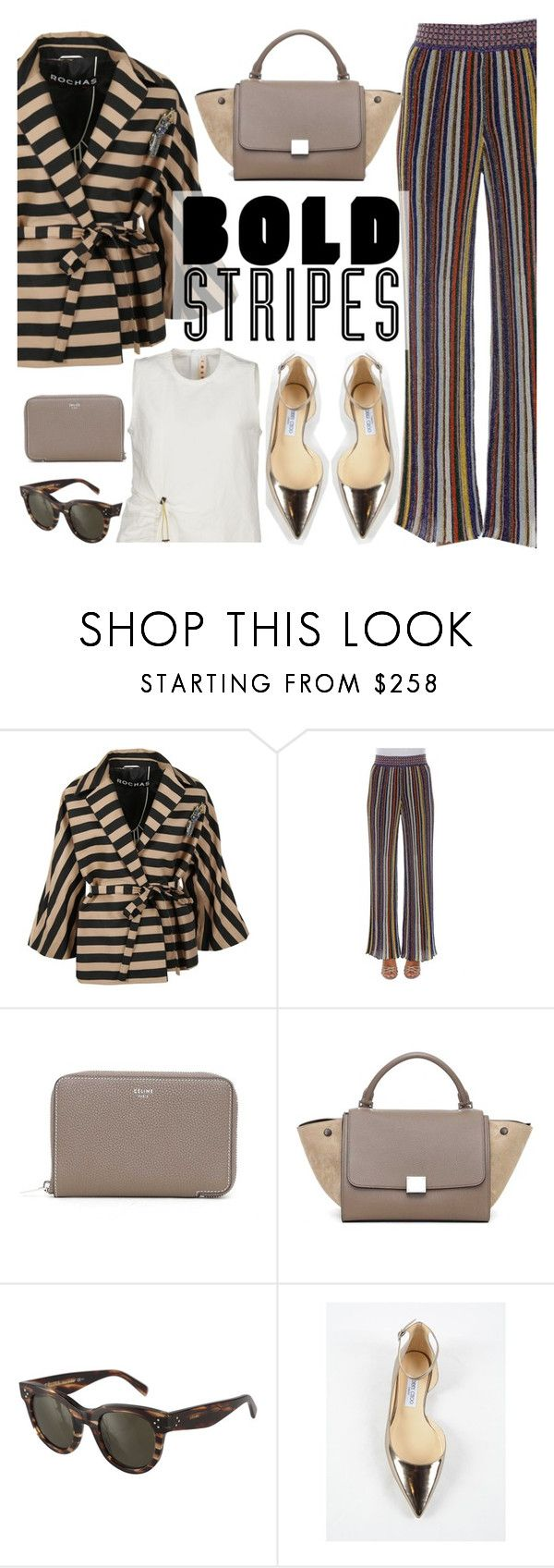 """bold stripes"" by italist ❤ liked on Polyvore featuring Rochas, Missoni, CÉLINE, Jimmy Choo and Marni"