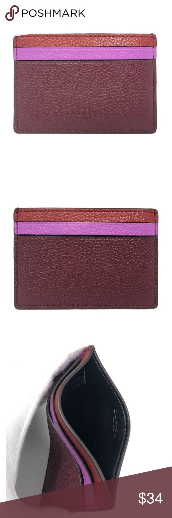 "Coach Flat Card Case in Leather 100% Authentic Coach!  Buy with confidence!  • MSRP: $75.00 • Style: F11739  Features: • Flat card case in grain leather with rainbow • Red Multi • Grain leather • Four credit card slots • 4"" (L) x 2 3/4"" (H)  Please feel free to ask any questions. Happy shopping! Coach Accessories Key & Card Holders"