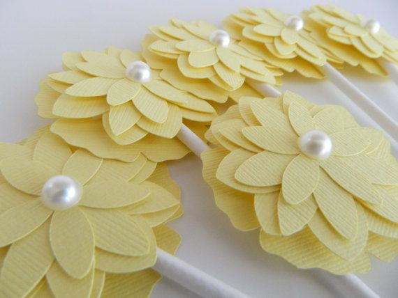 Yellow Flower Cupcake Toppers, Baby Shower Cupcake Topper, Bridal Shower Cupcake Topper, Flower Cupcake Topper, Wedding Cupcake Topper