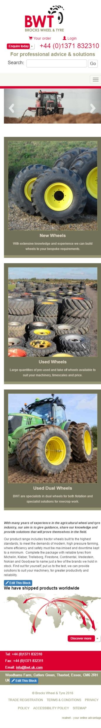 Brock's Wheel and Tyre specialise in wheels and tyres for the agricultural sector -  mobile display