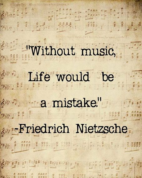 Music Quote Musical Notes Vintage Feel Friedrich Nietzsche Sepia Natural For the Musician, 8 x 10 Word Art Print. $20.00, via Etsy.