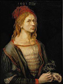 Autoportrait réalisé par Dürer alors qu'il avait vingt-deux ans (1493). IL S'AGIT D'UN DES TOUS PREMIERS AUTOPORTRAITS INDÉPENDANTS DE LA PEINTURE OCCIDENTALE. Le chardon tenu par l'artiste est peut-être un gage de fidélité conjugale à sa fiancée Agnès Frey, ou encore une allusion à la Passion du Christ (plus précisément aux piquants de la couronne d'épines).