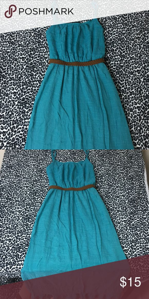 Teal maxi dress Teal maxi dress 👗 long with ruffled bottom brown belt to show your waist off! So pretty only worn once! Dresses Maxi