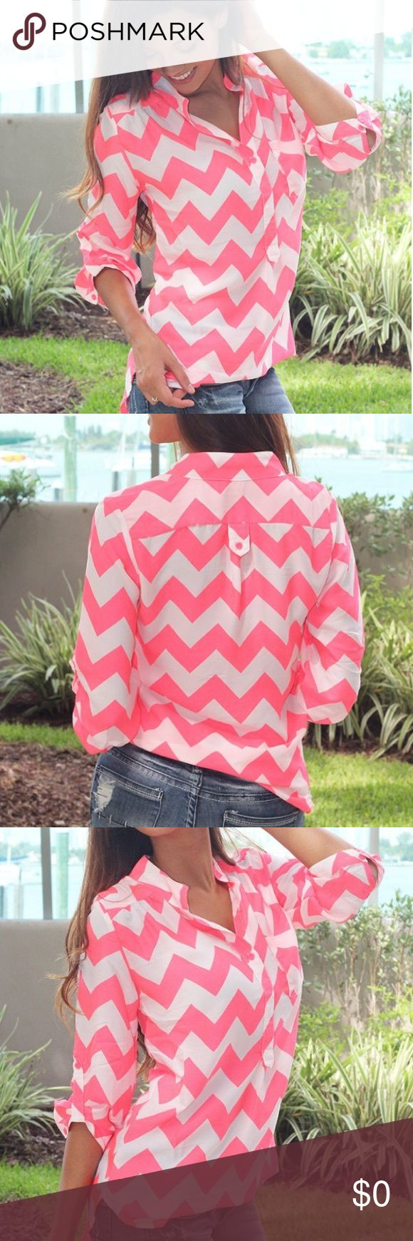 🌸New Arrival🌸Neon Coral Chevron Top You'll go CRAZY for this one! If you love chevron you NEED this new top! Sweet and simple, this neon coral and white chevron top goes with everything . Check out other cute tops at our trendy online boutique! 100% Polyester  Length:  - small: 29 inches -medium: 29.5 inches -large: 30 inches Model is 5'6, 32 C bust, size 0/2 pants, size small top and is wearing a size small. Loose fit. Sheer. Chevron print. Rolled up sleeves. One front pocket. Tops…