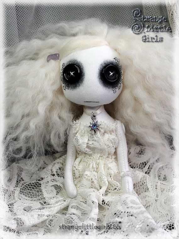 Gothic ghost art doll with button eyes by StrangeLittleGirlsUK