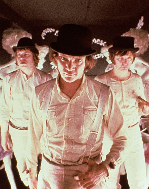 "Alex and his droogs don ""the height of fashion"" in Stanley Kubrick's ""A Clockwork Orange"" (1971)."