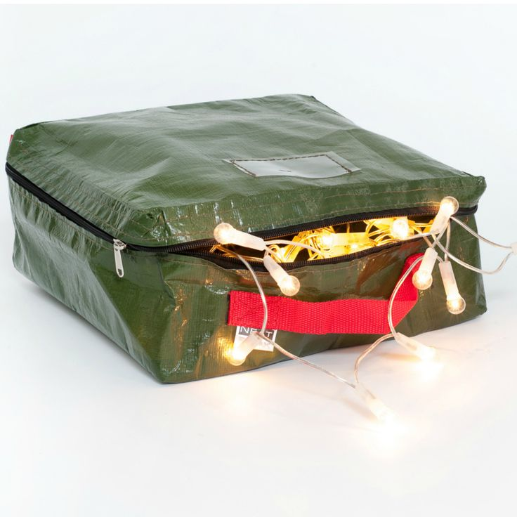 The Christmas Lights Storage Bag is the perfect sized bag to store your Christmas tree lights. Wrap to keep them safe. Label and all ready for next year.