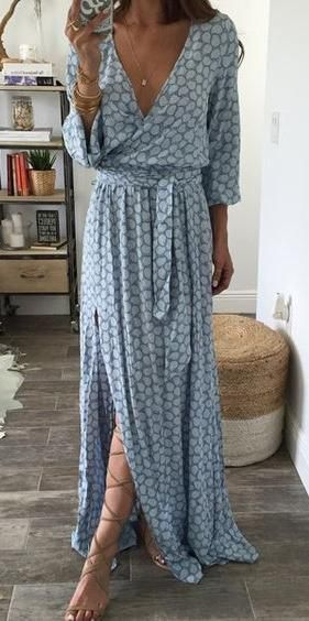 wrap maxi bohemian dress with knee strappy sandals looks really awesome