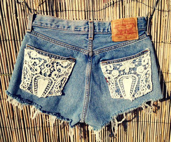 so easy to do:  Blue Jeans, Dreams Closet, Style, Lace Pockets,  Denim, Jeans Shorts, Denim Shorts, Lace Accent, Lace Shorts