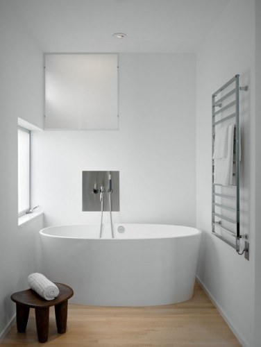 Storing your bath towels on a towel warmer would make for a toasty exit from the tub or shower.  Look for the kind that can be turned off when not needed.