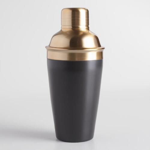 Classically shaped with unique gold and black finish, this exclusive stainless steel cocktail shaker brings handsome allure to your collection of home bar essentials.