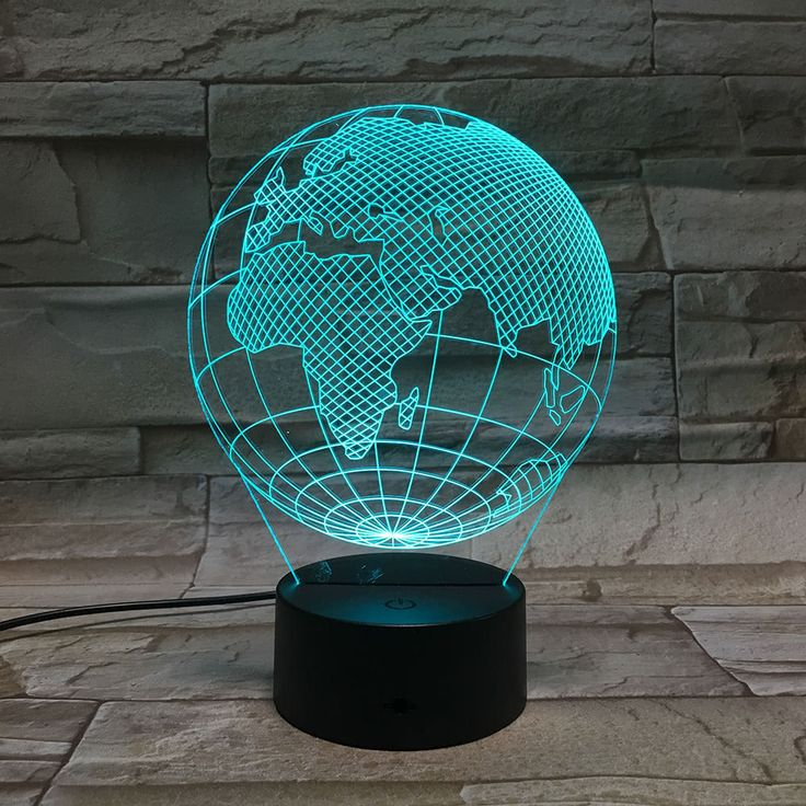 3D Globe Visual LED Lamp Acrylic Plate Optical Plug Night Light Sales Online - Tomtop.com