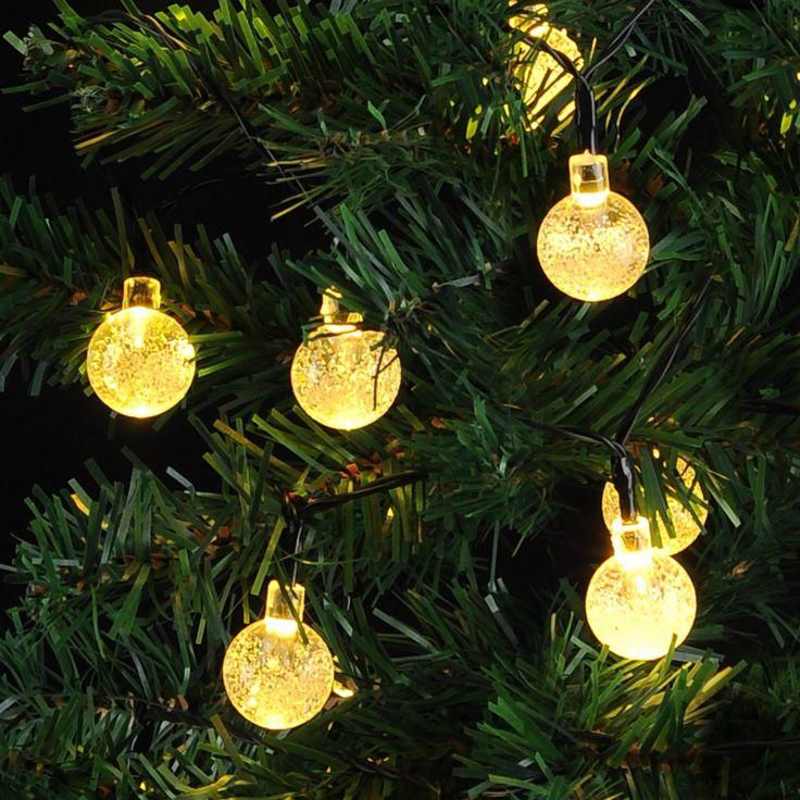 VicTsing Striscia Luminosa LED Solare SL50 Striscia Luminosa Alimentata da Energia Solare 20 ft con 30 Sfere LED Globulari di Cristallo, Striscia Luminosa Fiabesca per Giardino, Recinto, Sentiero, Paesaggio, Decorazione Festiva, Natale Festa Party - Bianco Cardo