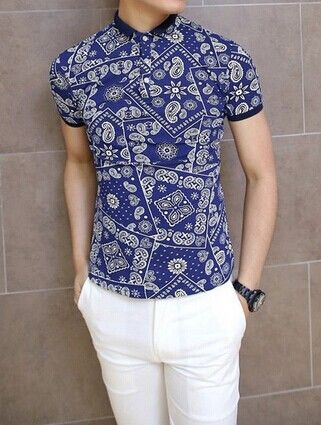 Tiny Turn Down Collar Short Sleeve Floral Print Slimming Cotton Polo Shirt For…