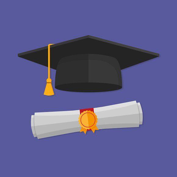 Graduation Cap And Rolled Diploma Graduation Cap Diploma Graduation Illustration