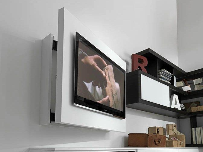 Lacquered adjustable wall-mounted TV cabinet RACK FREE by Fimar