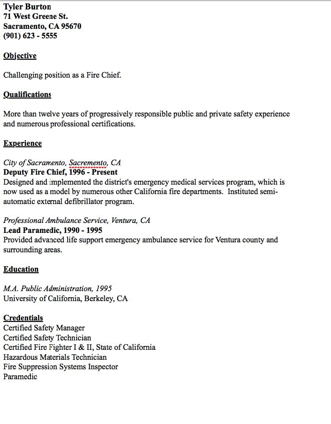 example of fire chief resume