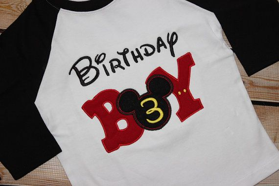 Mickey Mouse Birthday Shirt with Number by PerryWinklesEmb on Etsy