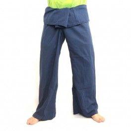 Pescador pantalones tailandeses extralargo azul aciano de algodón