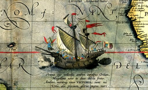 6 septembre 1522 : Fin du premier tour du monde de l'histoire Detail from a map of Ortelius - Magellan's ship Victoria