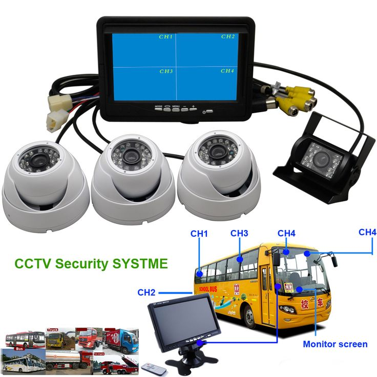 4in1 School Bus Public transportation Truck 4Split CCTV Security Monitor 32G DVR Rear View Backup Camera Kits #Affiliate