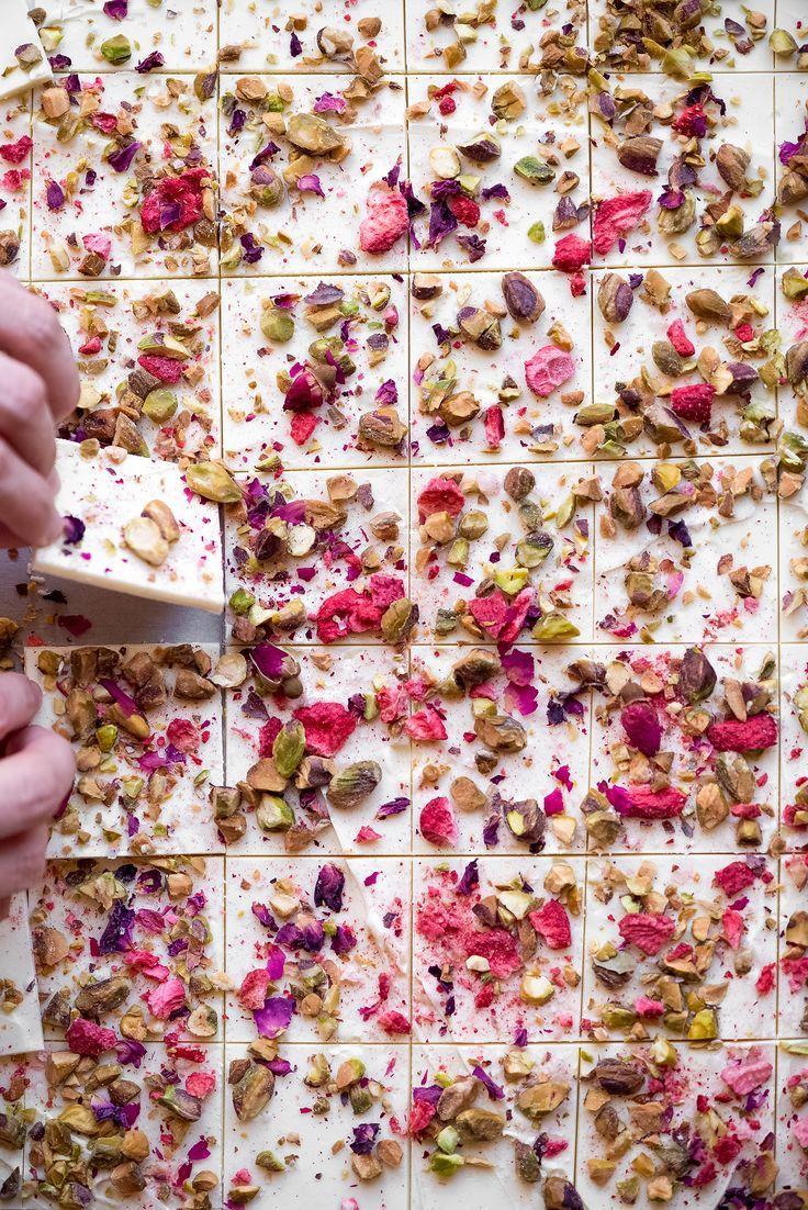 Rose, Strawberry, & Pistachio White Chocolate Bark With Pink Sea Salt