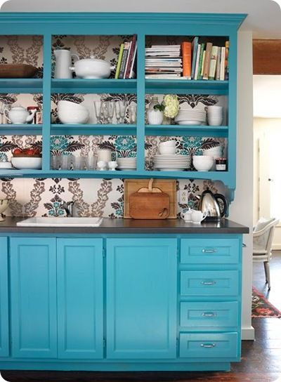 Shelves with wallpaper