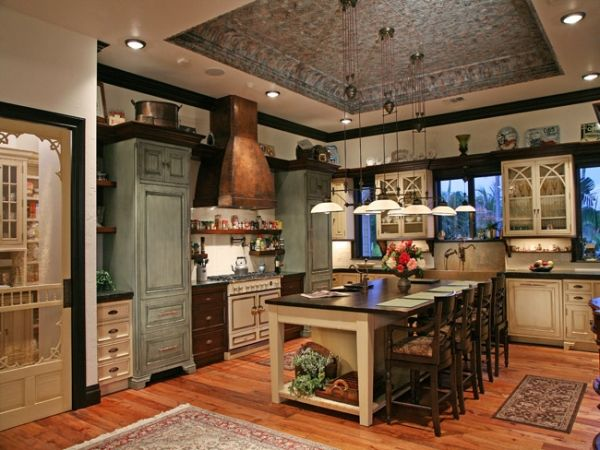 rustic vintage, classic English Kitchen with Victorian accents