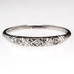 Art Deco Wedding Band Ring w/ Diamonds in Platinum