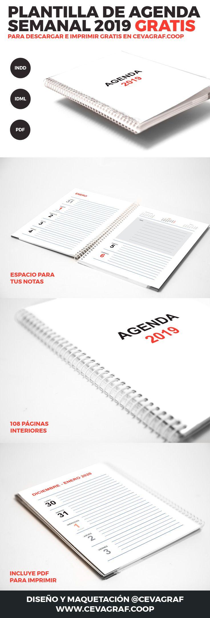 Agenda 2019 Plantilla Gratis para Imprimir | Agenda semanal, Agenda ...