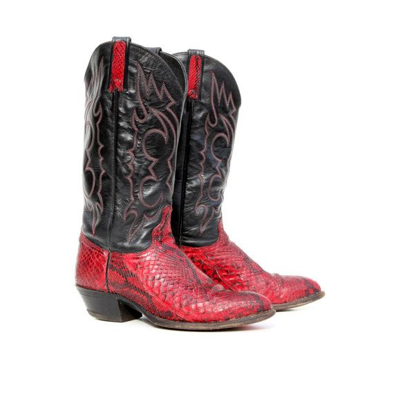 True Blood: Pomegranate Red Snakeskin Cowboy Boots with Black ...