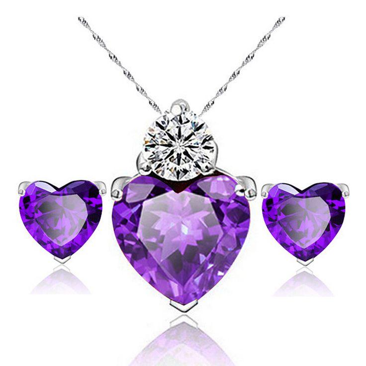 2 stks Elegante Kubieke Zirkoon Bruiloft Sieraden Sets Vrouwen Fashion Goedkope Sieraden Liefde Hart Hanger Ketting Crystal Earring