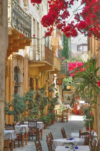 A typical street in Rethymno, Greece
