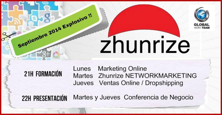 Accede de Inmediato a la Formación y Conferencia de Presentación de Zhunrize con Global Work Team. Hora, Fecha, Lugar y todos los detalles a tu disposición...