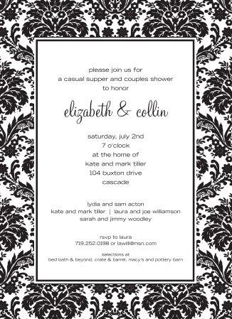 Black & White Damask Wedding Invitation | Wedding Favors Unlimited