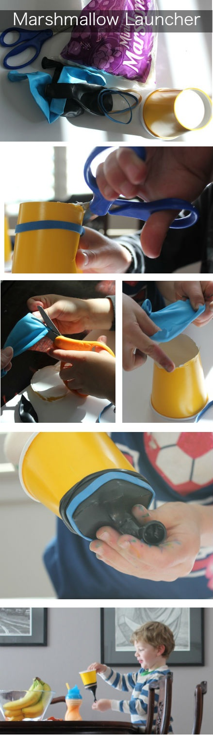 DIY marshmallow launcher -- easy and fun kids' craft! Great ideas of activity for a birthday party...